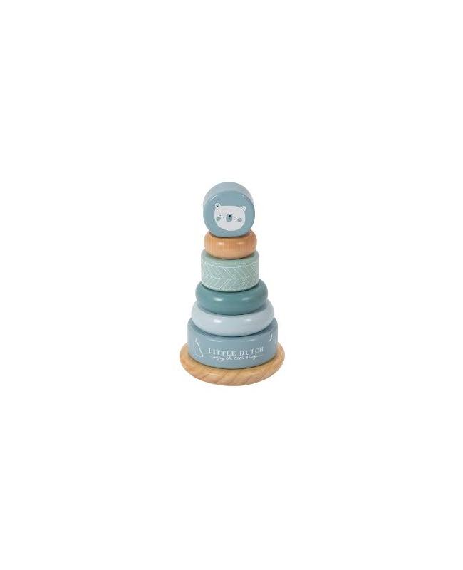 Pyramide anneaux en bois - adventure blue Little Dutch