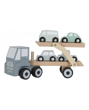 Camion transporteur en bois - bleu Little Dutch