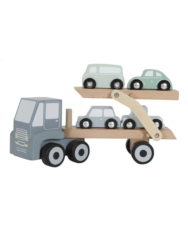 Camion transporteur en bois - bleu Little Dutch