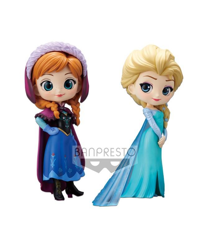 Disney Q Posket Reine des Neiges 2-Pack Anna & Elsa 14cm