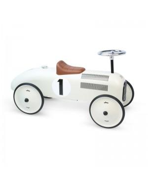 Porteur voiture vintage blanc crème