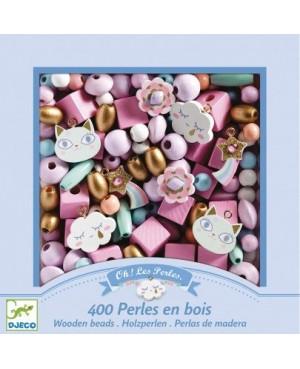Foison de perles -400 Perles en bois arc en ciel Djeco