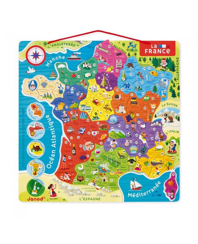 PUZZLE FRANCE MAGNÉTIQUE 93 PCS (BOIS) - NOUVELLES RÉGIONS 2016 Janod