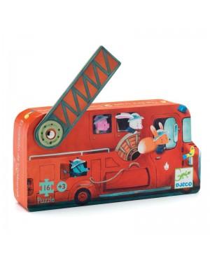 Le camion de pompier - puzzle 16 pièces Djeco