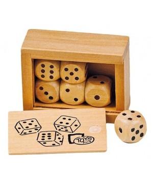 Boîte de 6 dés en bois