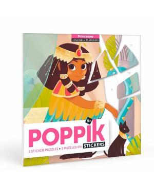 Mini sticker 3 PUZZLES ÉDUCATIFS (3×35 STICKERS) PRINCESSES (5-10 ANS) Poppik