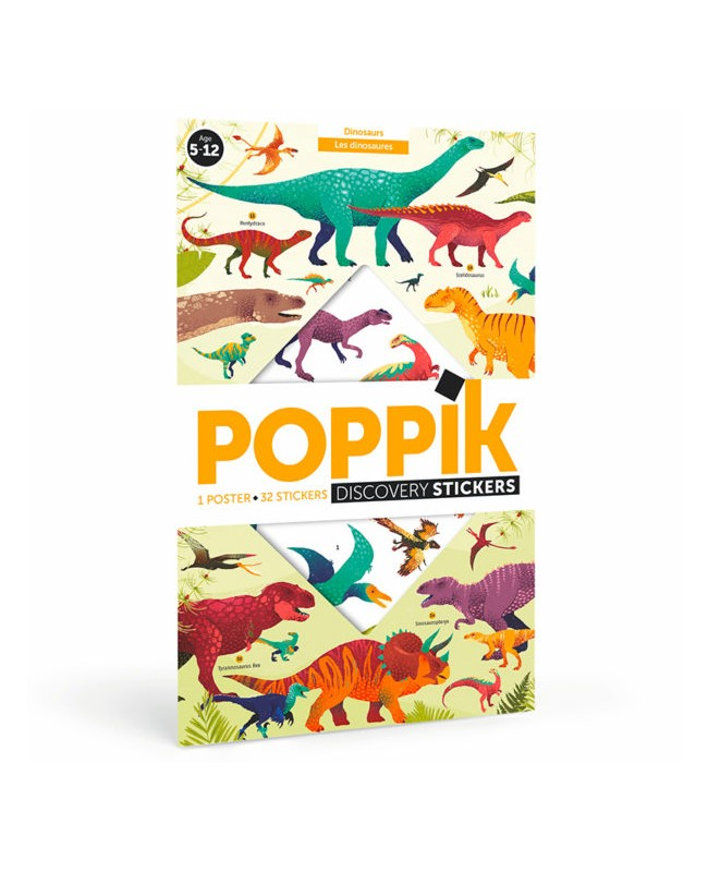 Discovery sticker posters-Dinosaurs POSTER ÉDUCATIF + 32 STICKERS DINOSAURES (5-12 ANS) Poppik