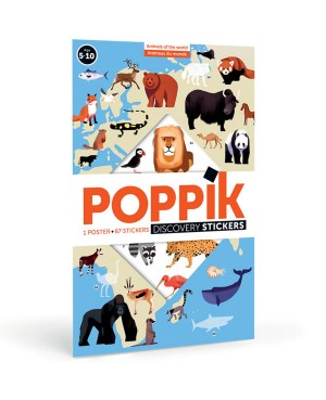 Discovery sticker posters-Animals of the world POSTER ÉDUCATIF + 76 STICKERS ANIMAUX DU MONDE (5-12 ANS) Poppik