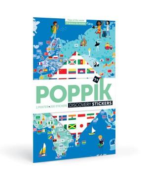 Discovery sticker posters-Flags POSTER ÉDUCATIF + 200 STICKERS DRAPEAUX DU MONDE (6-12 ANS) Poppik