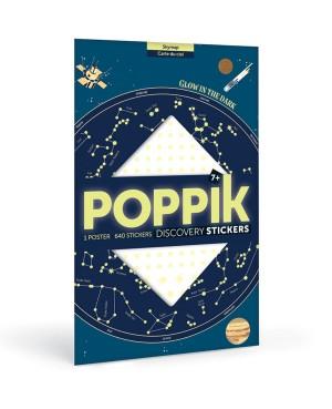 Discovery sticker posters-Skymap POSTER ÉDUCATIF + 640 STICKERS ÉTOILES PHOSPHORESCENTES (7 ANS ET +) Poppik