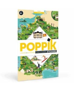 Discovery sticker posters-France POSTER ÉDUCATIF + 60 STICKERS CARTE DE FRANCE (6-12 ANS) Poppik