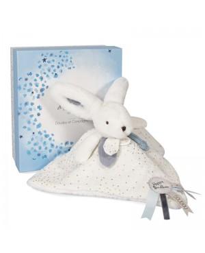 HAPPY GLOSSY Doudou pompon blanc 25 cm Doudou et compagnie